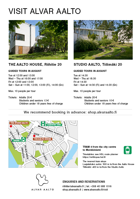 Location map and visit information of The Aalto House and Studio Aalto