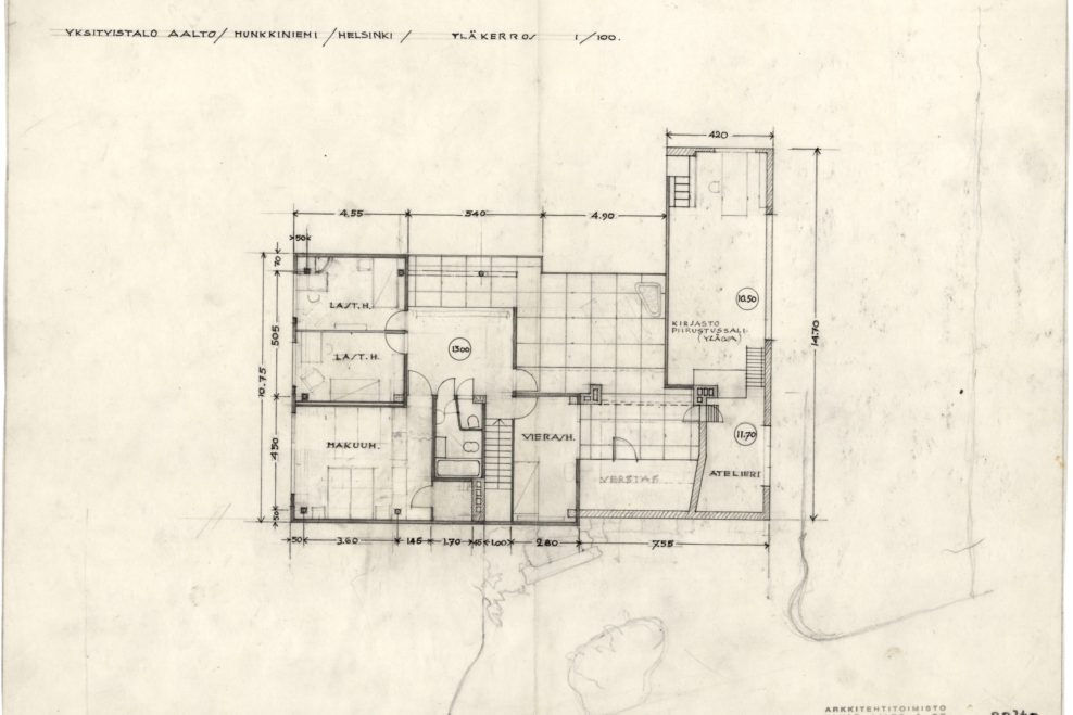 7 upper floor plan - Alvar Aalto House Plans
